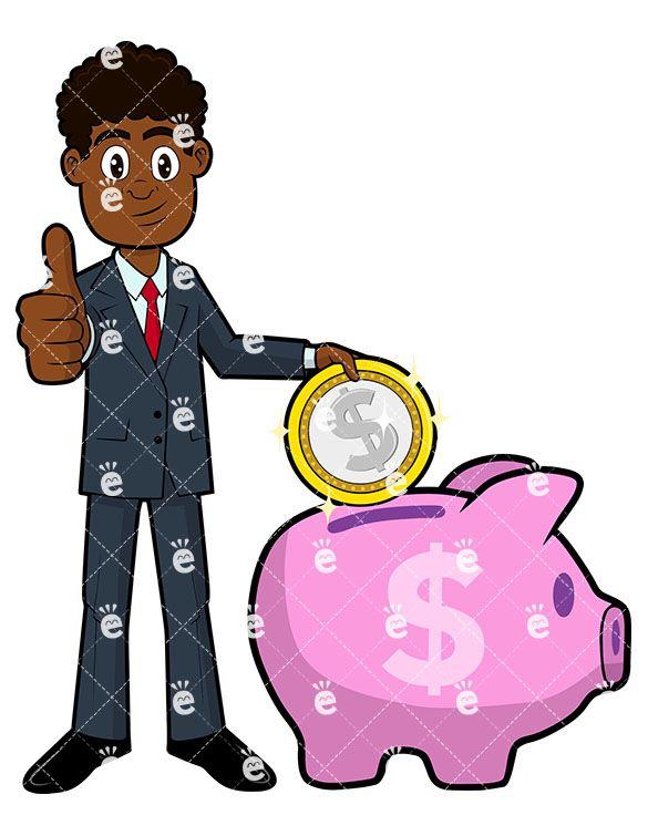 Bank clipart male. A black businessman putting