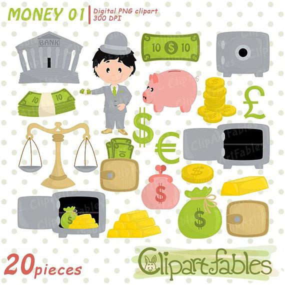 Money piggy bank save. Cash clipart cute