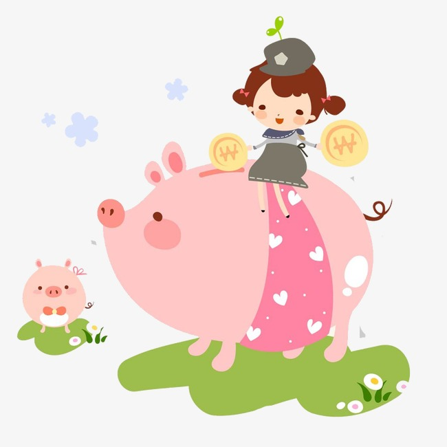 Bank clipart pig. Riding piggy little girl