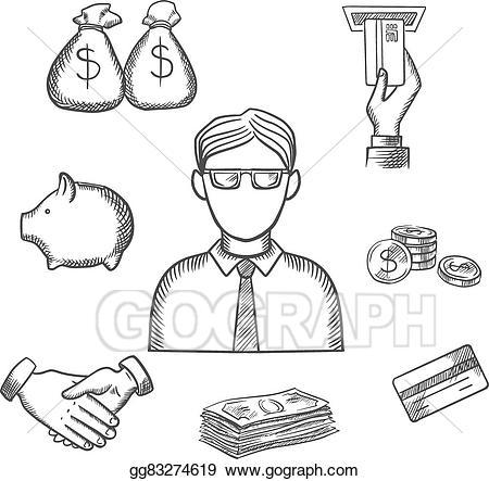 Banker clipart money. Eps vector and finance