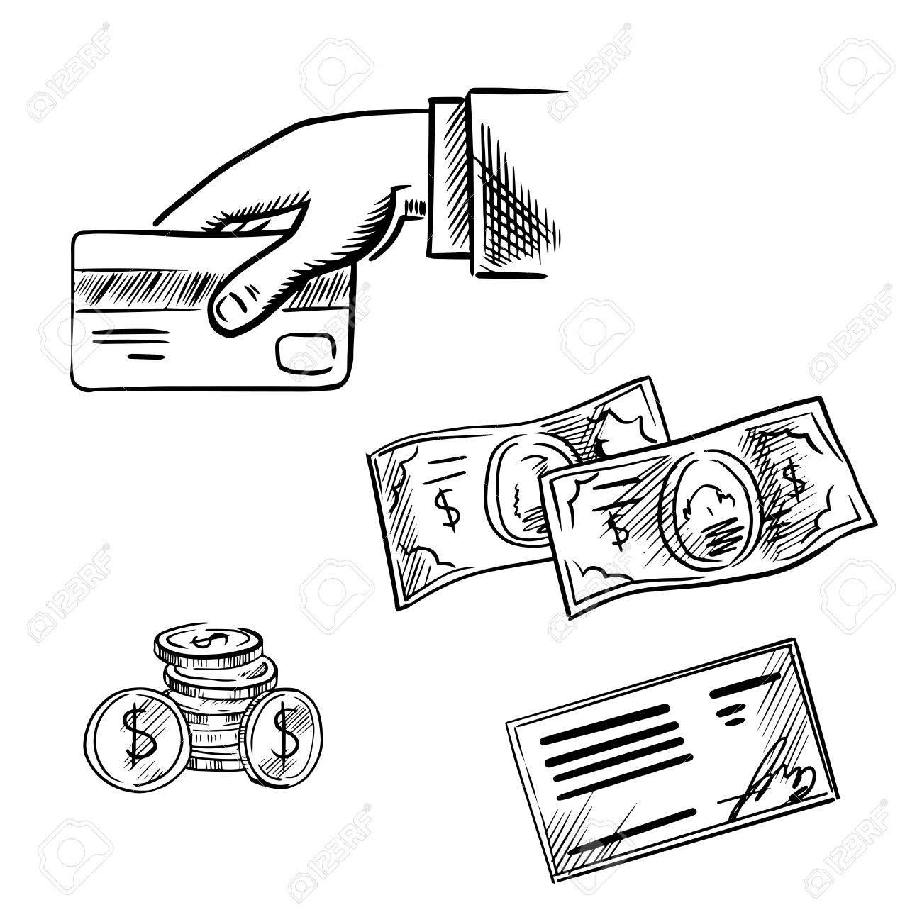Bank clipart sketch. Dollar bill drawing at