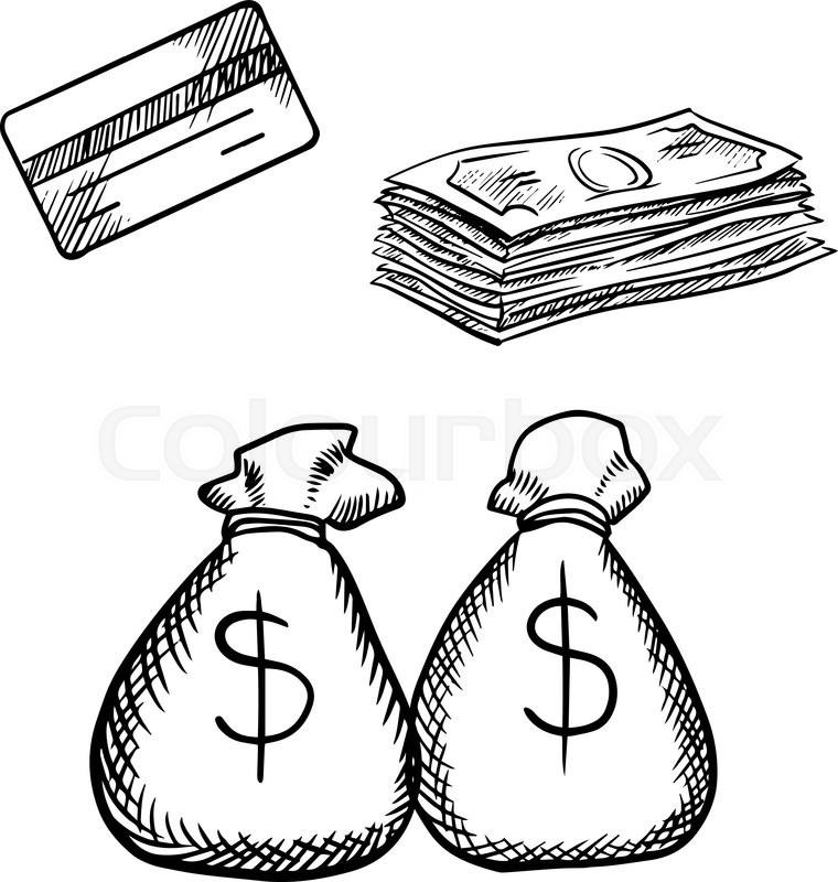 Bank clipart sketch. Credit card drawing at
