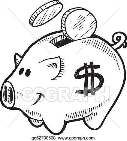 Vector art piggy drawing. Bank clipart sketch