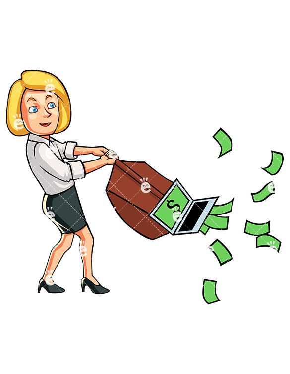 A businesswoman using vacuum. Banker clipart accountant