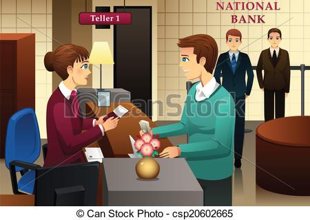 Banker clipart bank. Teller servicing a panda