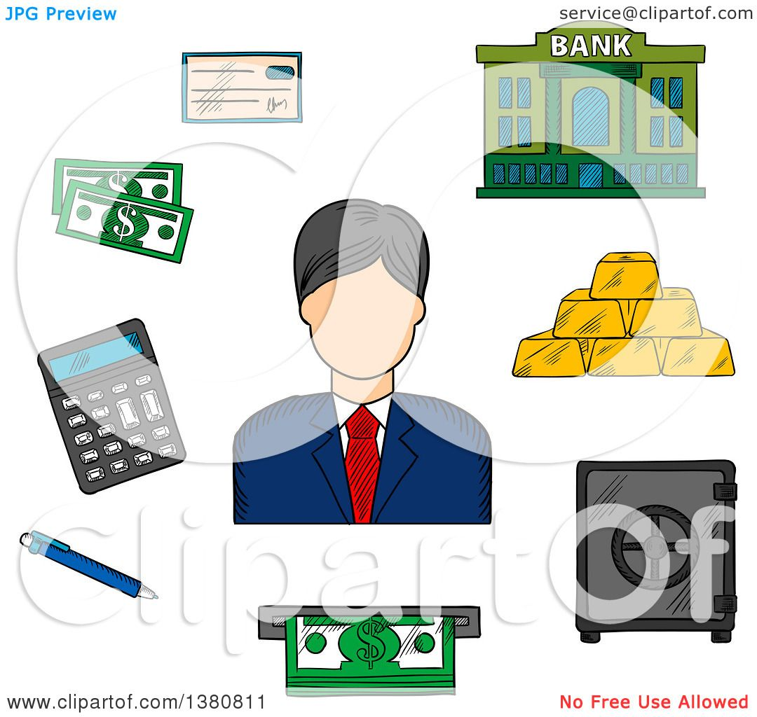 Banker clipart bank counter. Teller gold pencil and