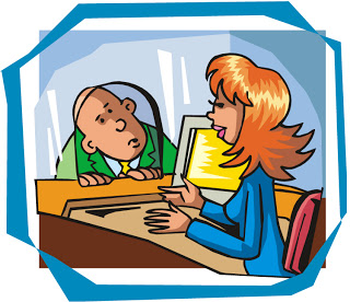 Diary of a part. Banker clipart bank counter