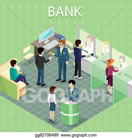 Eps vector isometric interior. Banker clipart bank counter
