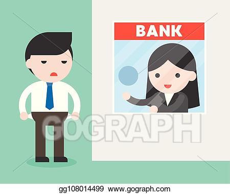 Eps illustration businessman at. Banker clipart bank counter