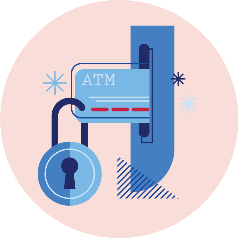 Safe account checking accounts. Bills clipart debit