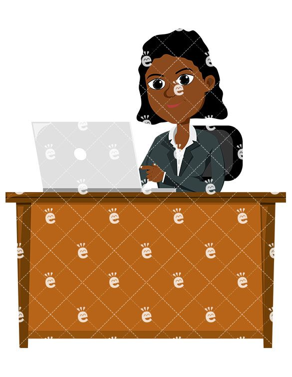 Banker clipart female. A black professional using