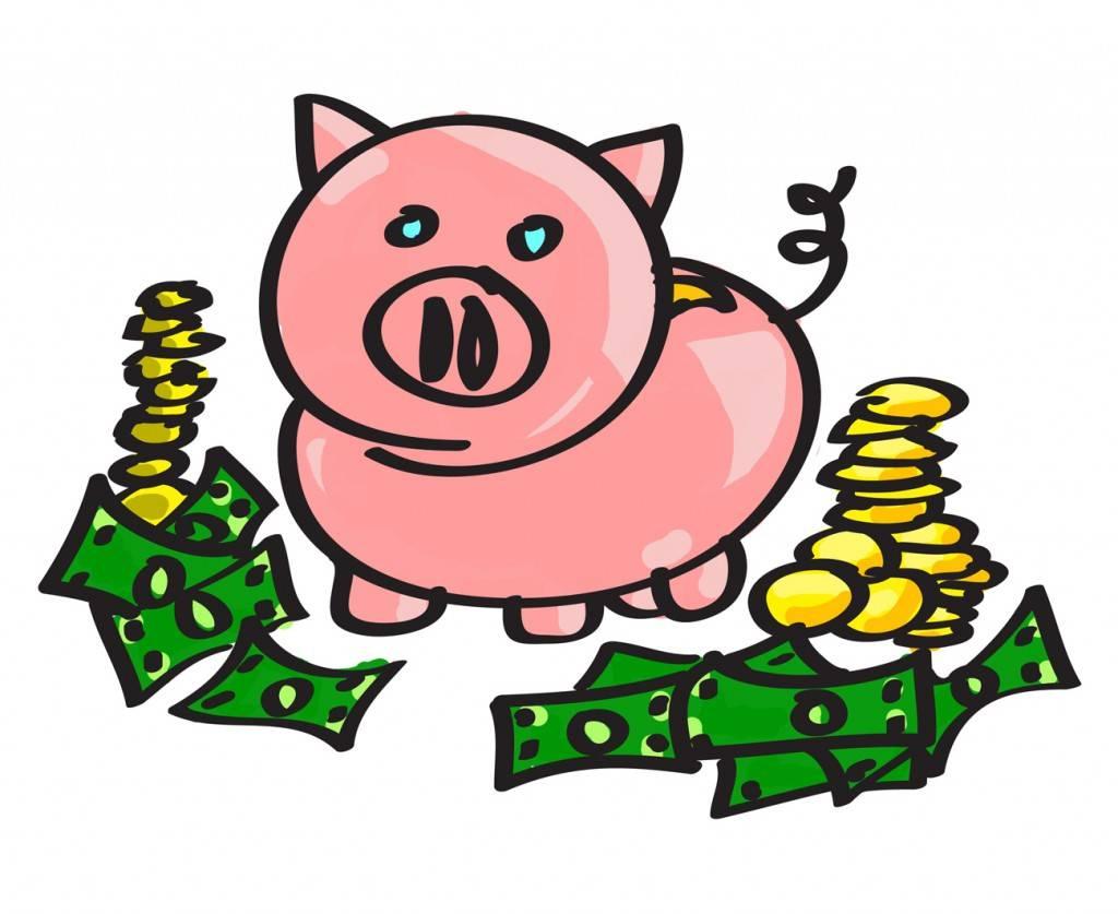 Bank teller piggy clip. Banker clipart money