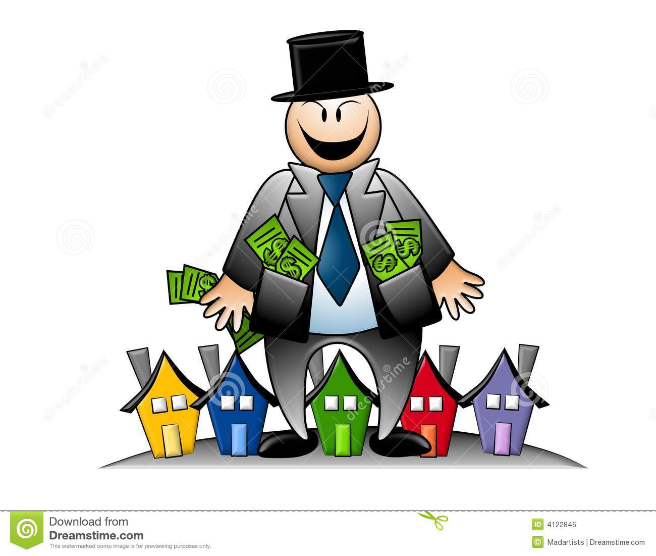 Banker with money and. Bully clipart greedy