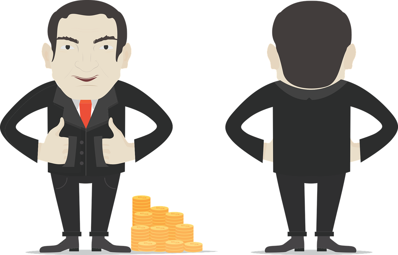 Worker d vector male. Banker clipart stingy person