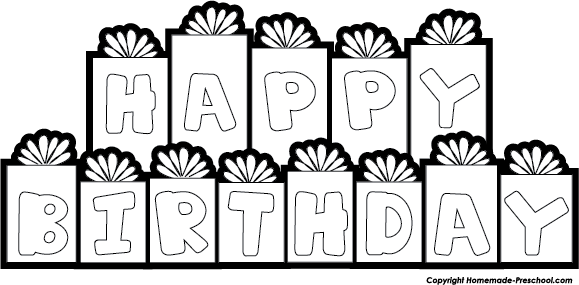 Happy birthday clipart theveliger. Banner clip art black and white