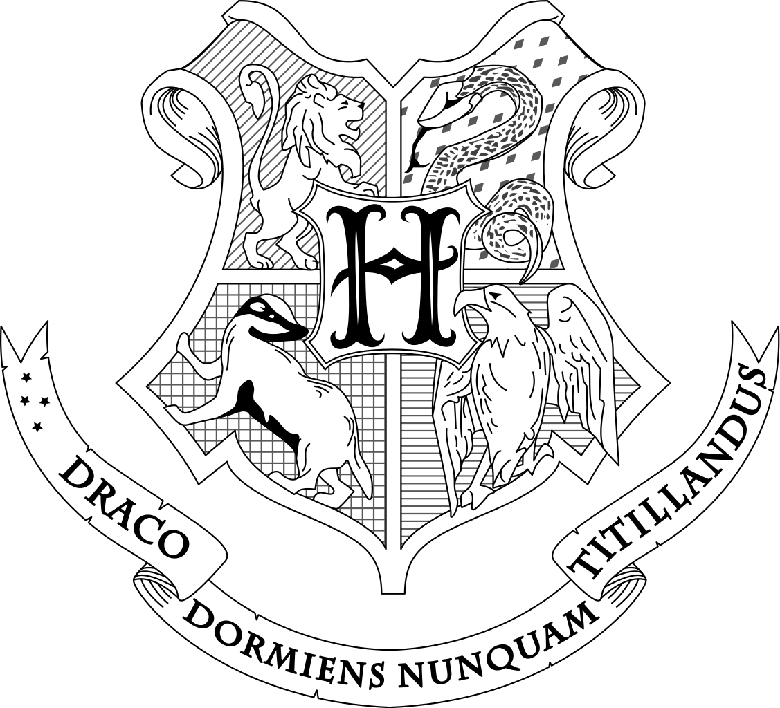 Banner clip art coloring page. Hogwarts crest pages pictures