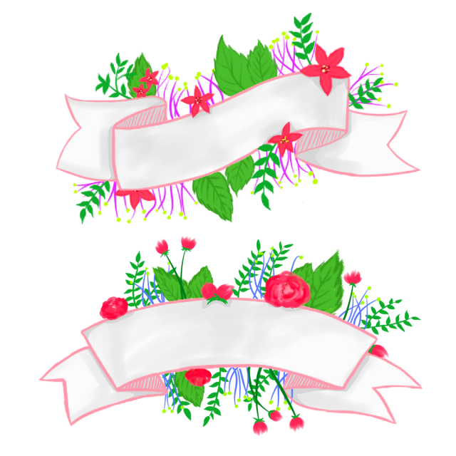 Flower banner png. And psd file for