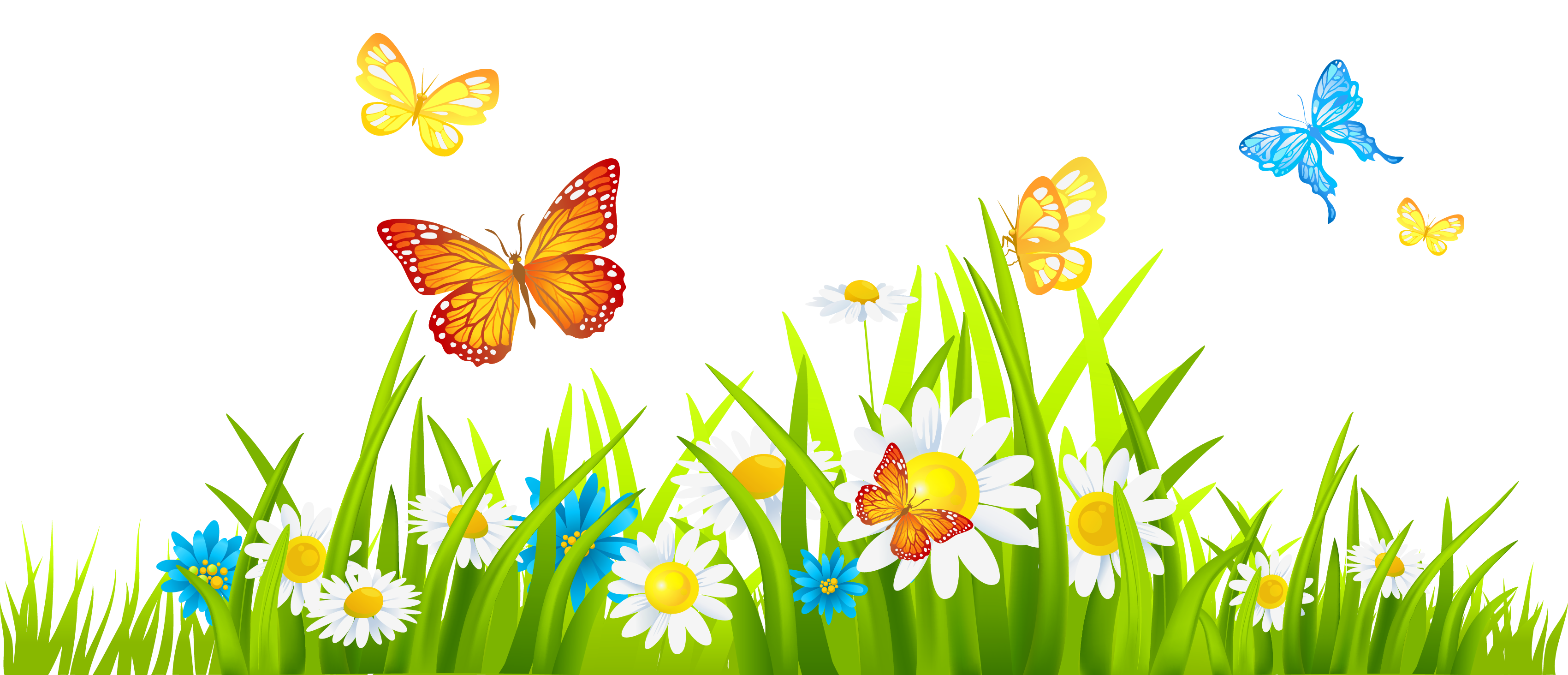 Grass ground with flowers. Ladybug clipart border