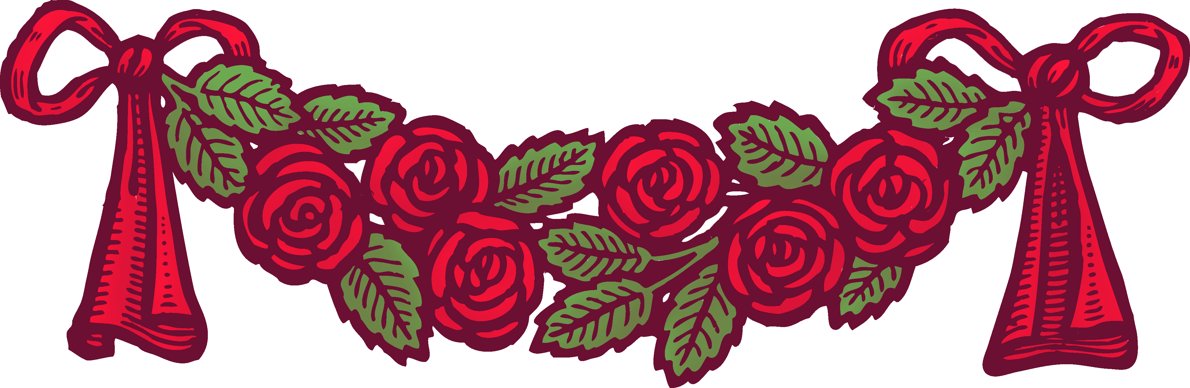 Vintage red with ribbons. Clipart roses banner