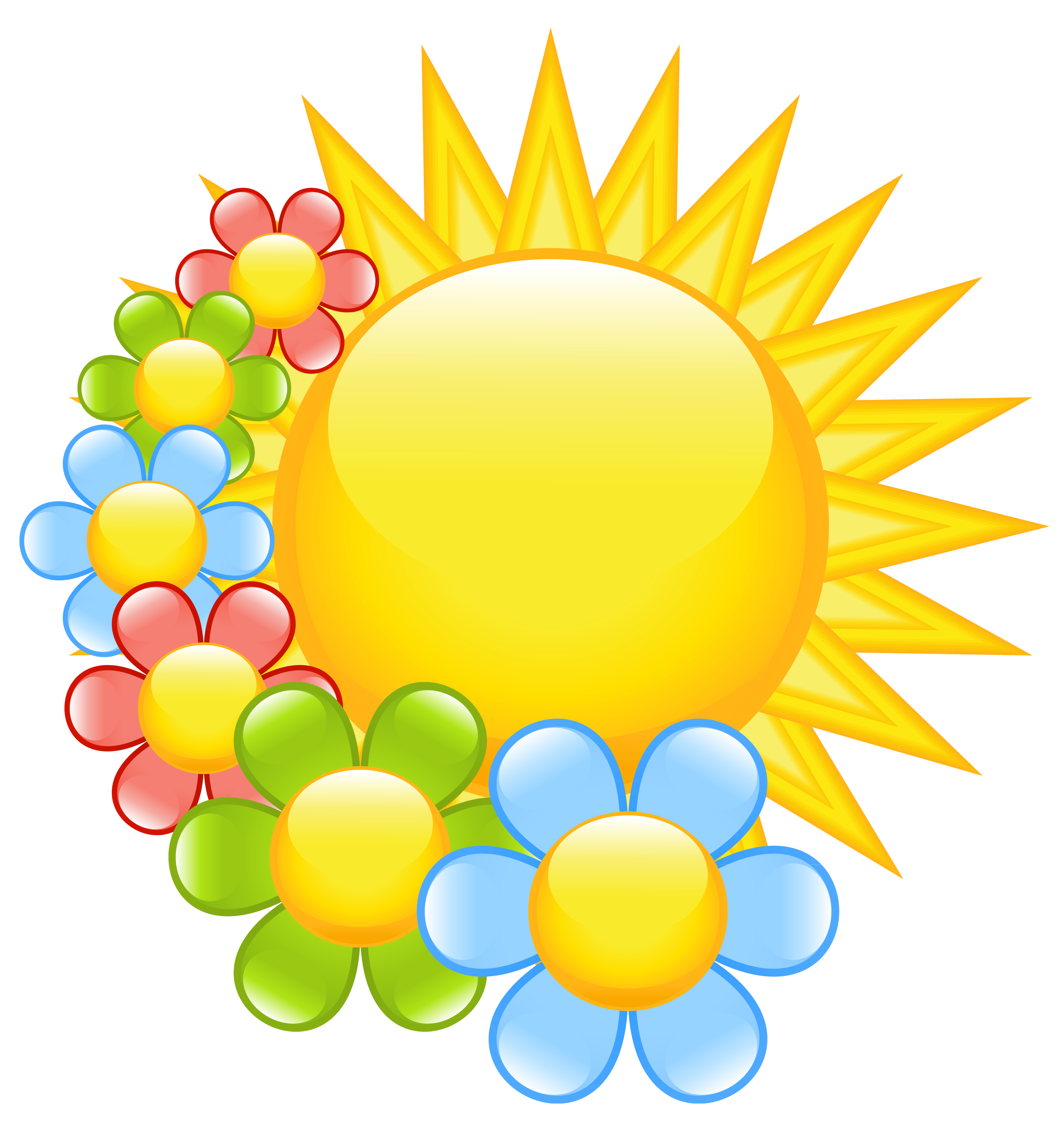 Spring sun with flowers. Clipart children banner