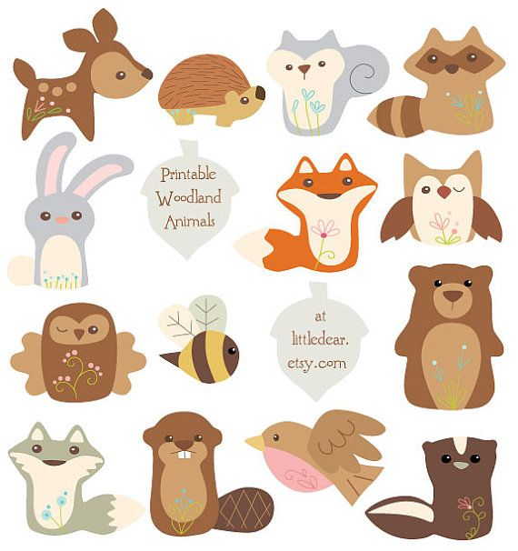 Woodland clipart garland. Diy printable art animals