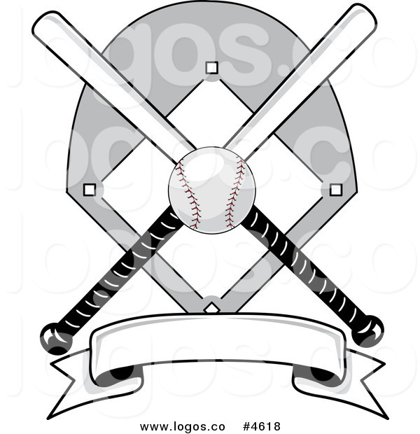 Royalty free baseball field. Bats clipart banner