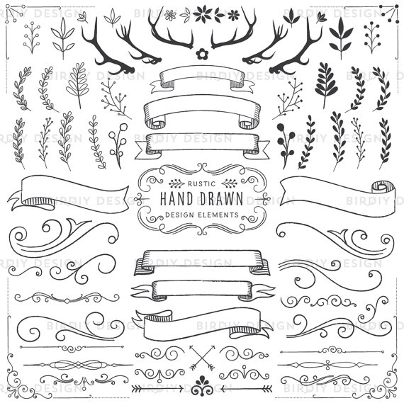 Boho clipart banner. Woodland floral antlers banners
