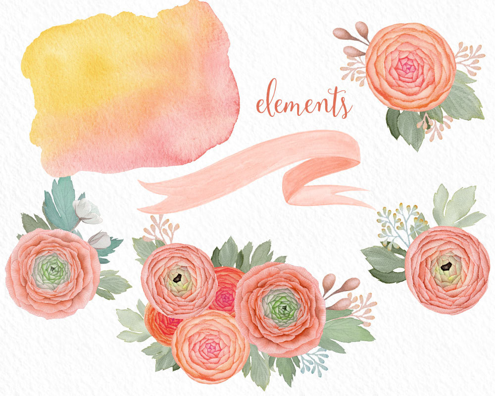 Boho clipart banner. Peach flowers wedding flower