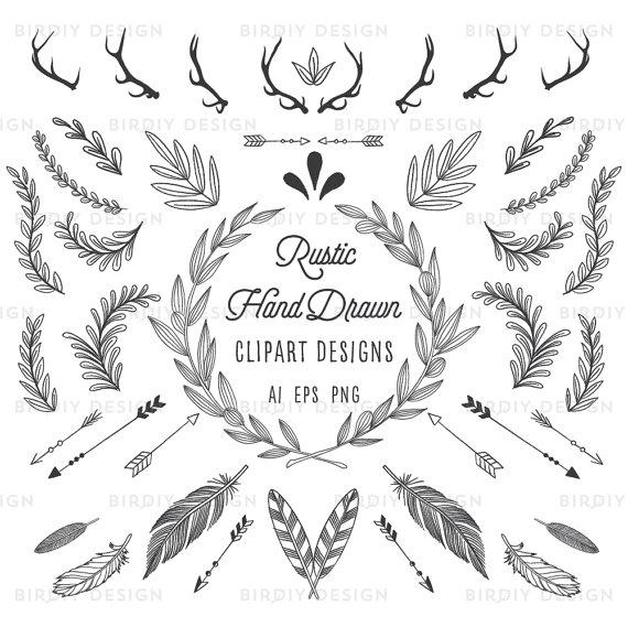 Rustic woodland bundle antlers. Boho clipart banner