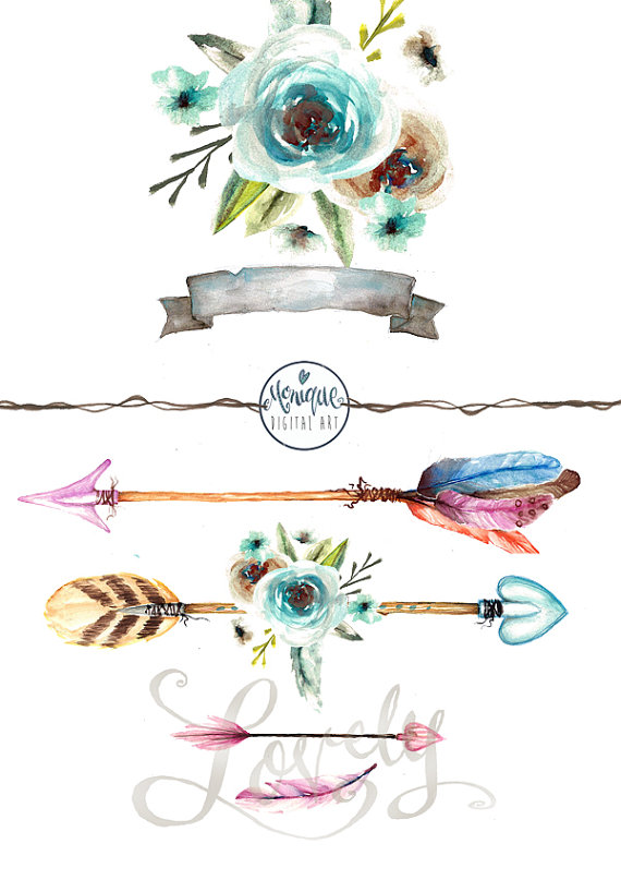 Watercolor arrows feathers tribal. Boho clipart banner