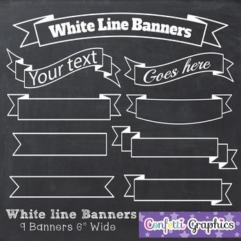 Clip art white line. Banners clipart chalkboard