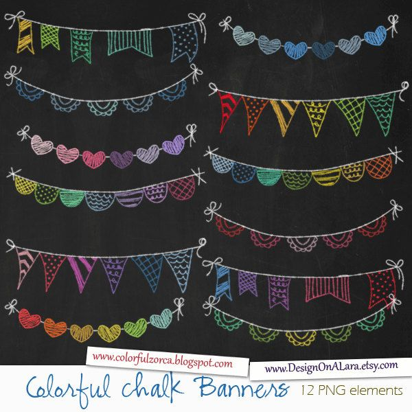 Chalk clipart colored chalk. Colorful bunting banners rainbow