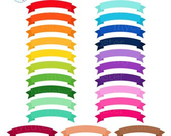 Banner clipart curved. Etsy rainbow banners set