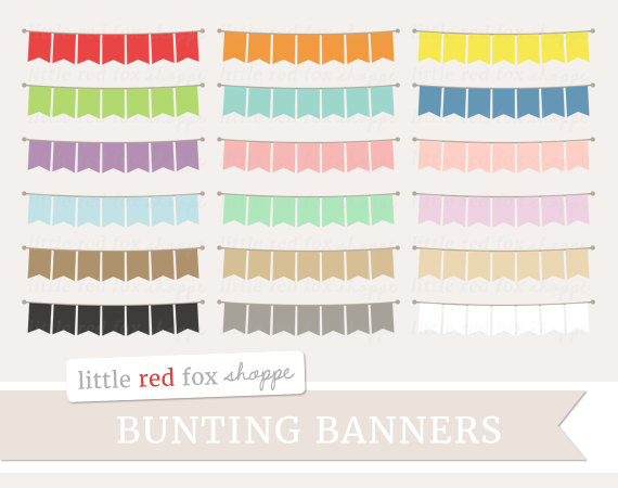 Bunting banner flag clip. Banners clipart cute