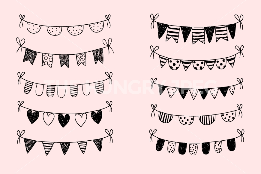 Black and white bunting. Banner clipart doodle
