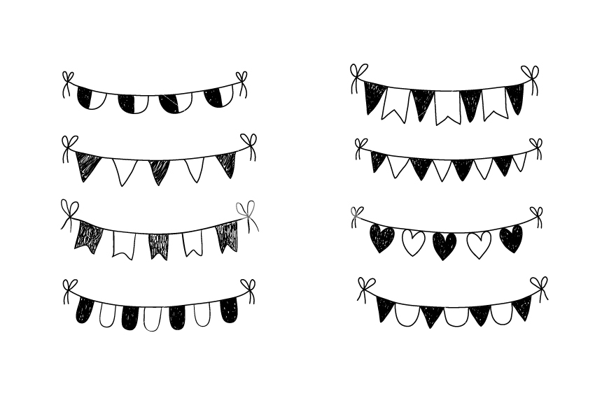 Bunting clip art hand. Banner clipart doodle