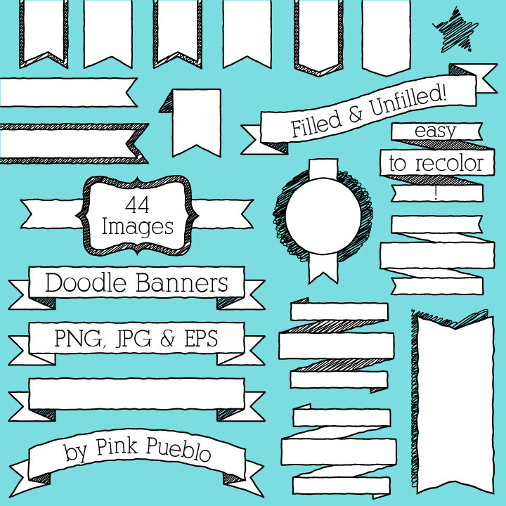 Banners clip art badges. Banner clipart doodle