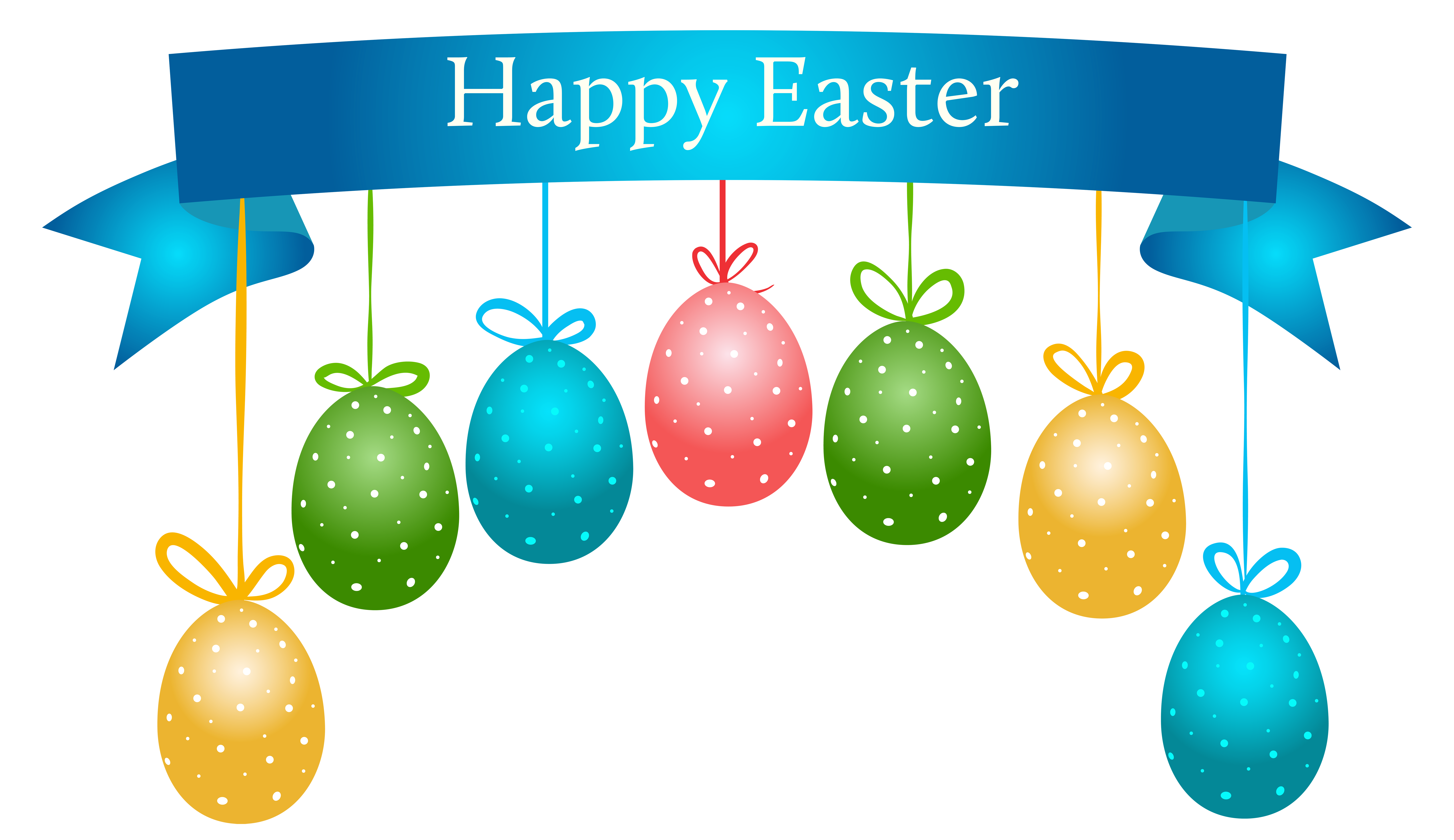 Happy banner with hanging. Clipart balloon easter
