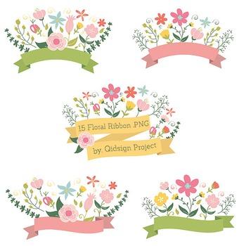 Floral clipart label. Banner header