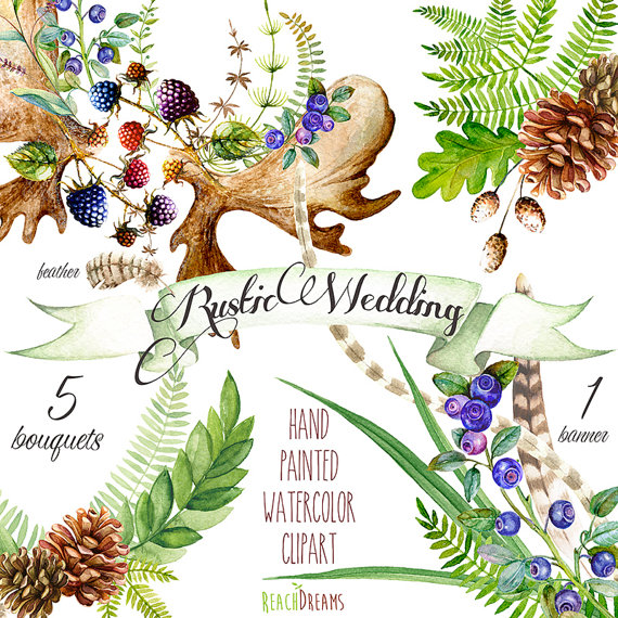 Boho clipart forest. Watercolor wedding rustic hand