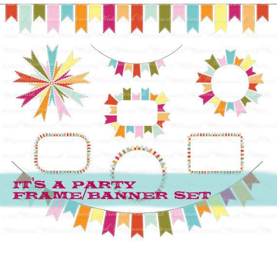Clip art frame party. Birthday clipart ribbon