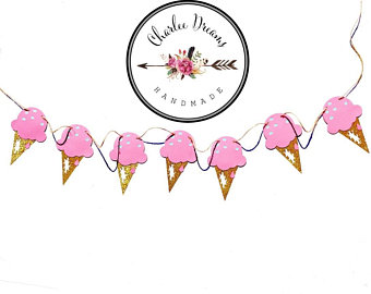 Garland banner party. Banners clipart ice cream