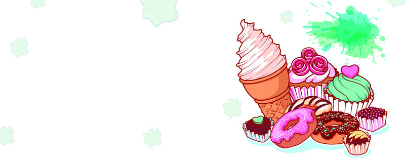 Vector white poster background. Banners clipart ice cream