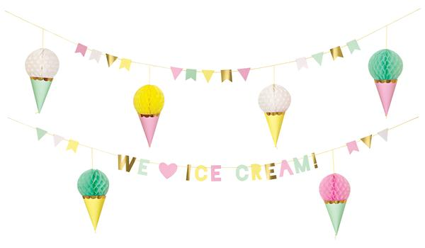 Party banner bridal shower. Banners clipart ice cream