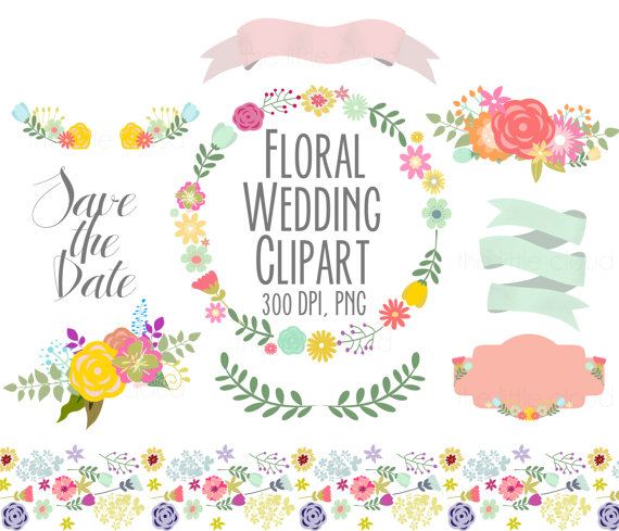 Spring flowers wedding floral. Banners clipart invitation
