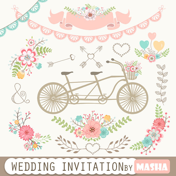 Wedding invitation with tandem. Banners clipart lace