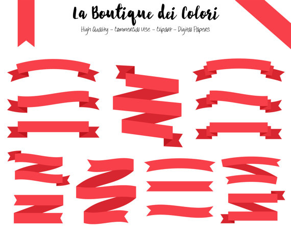 Red ribbon banners clip. Banner clipart label