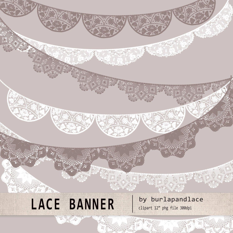 Banner clipart lace. Wedding invitation doile digital