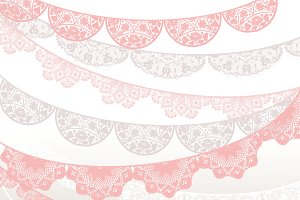 Pink beige white illustrations. Banner clipart lace