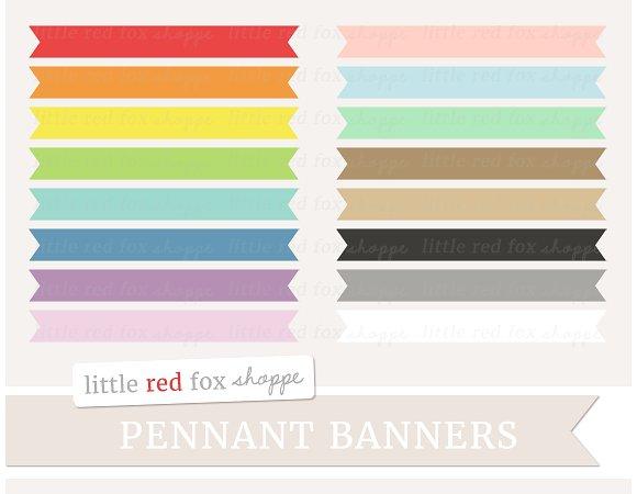 Banner clipart rectangle. Pennant illustrations creative market